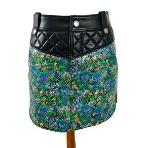 Coach New York Womens 0 Floral Leather Mini Skirt